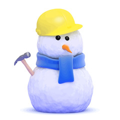 Vector 3d Builder snowman wearing a hard hat and holding a hammer