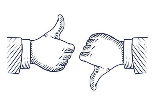 Hand drawn thumbs up and down. Like and unlike business isolated sketch vector symbols. Illustration of hand with thumb up finger, ok and negative