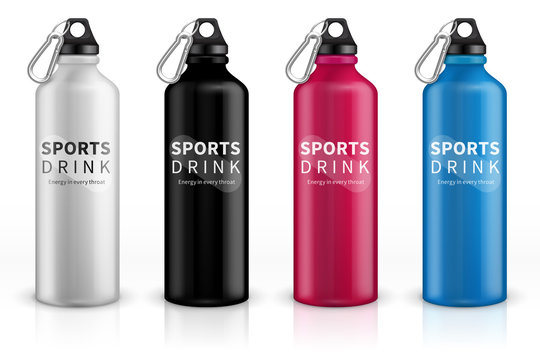 Sports stainless bottles. Bike metal reusable drink flask. 3d realistic vector mockup. Illustration of container water for sport bike and fitness