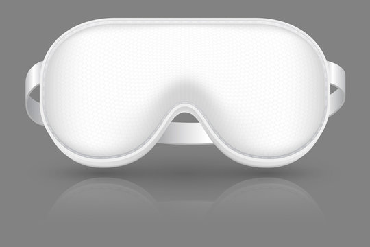 White sleeping mask. Blindfold for airplane relax. Cover on eyes. Realistic vector mockup. Illustration of mask sleep for eye relaxation night in airplane