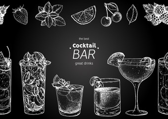 Alcoholic cocktails hand drawn vector illustration. Cocktails sketch set. Engraved style.