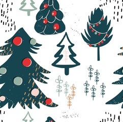 Retro vintage graphic multicolor lovely holiday new year pattern of Christmas trees hand illustration. Perfect for cards, textile, wallpaper, background, wrapping paper