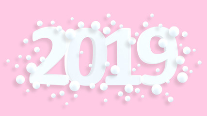 2019 New Year wallpaper. 3d background. Abstract shapes 3d. Year of Earth Pig. Winter holiday. New Year poster. Pastel. Minimalism. Trendy modern illustration. Render.