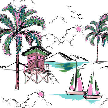 Trendy  hawaiian in sweet color  seamless island pattern vector. Landscape with palm trees,beach and ocean vector hand drawn style