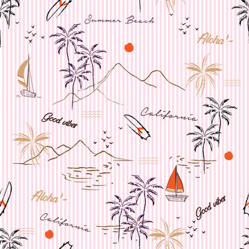 Sweet summer mood island with palm tree,boat,mountain in hand drawn style pattern vector on light pink stripe design