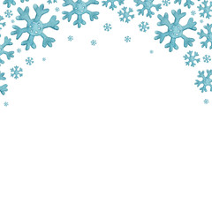 christmas watercolor background with Blue snowflakes. christmas