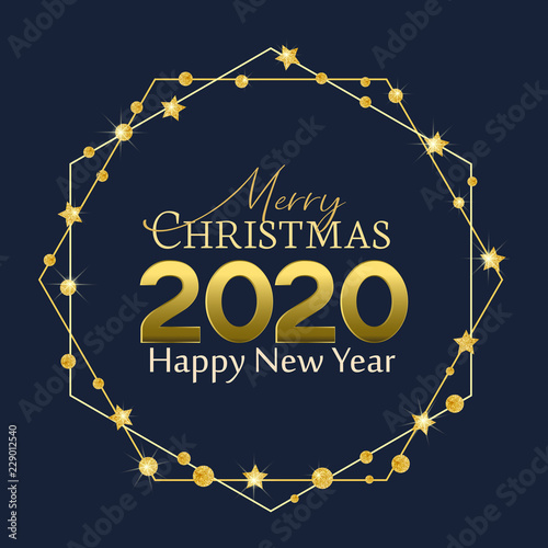 Merry Christmas Images 2020.Vector Illustration Of Happy New Year 2020 Background Merry