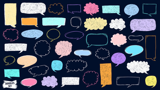 Speech bubble doodles set. Scribble frames collection. Sketch vector. Hand drawn effect illustration. Social media messages. Comics text. Chat or dialog clouds set. Scrawl graphics isolated on white.