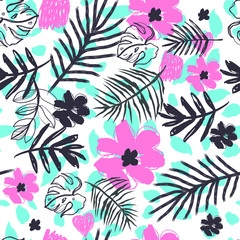 Hipster Exotic  Leaves Pattern Vector  Illustration for Surface , Invitation , Notebook, Banner , Wrap Paper ,Textiles, Cover, Magazine ,Postcard Background ,Textile , Wallpaper, Fashion