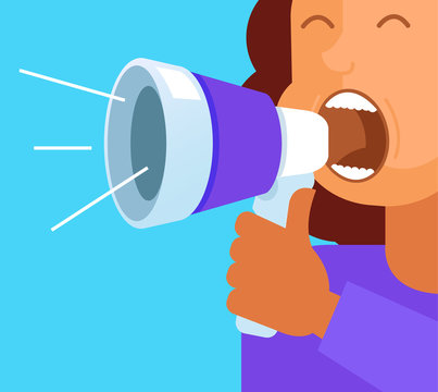 Happy smiling office worker business woman character shouting screaming announcement through loud speaker. Advertisement concept. Vector flat cartoon graphic design isolated illustration