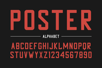 Strong sans serif font. High bold typeface, condensed alphabet with numbers. Vector illustration.