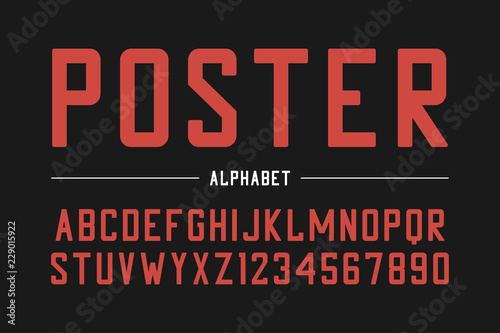 Strong sans serif font  High bold typeface, condensed