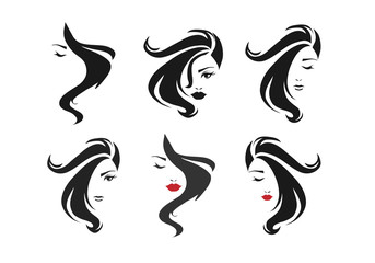 Hot and sexy girl face and hair sign sets