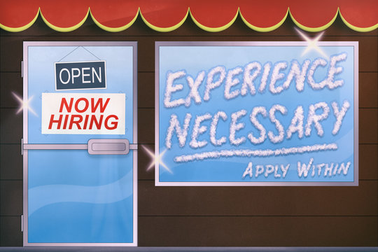 Now Hiring. Experience Necessary. Business Concept Illustration.