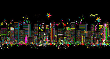 Colorful night metropolis, seamless pattern for your design