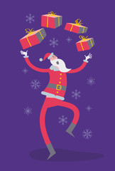 Flat cartoon vector illustration of a jolly character: Santa Claus shows presents, juggles with boxes and dancing.