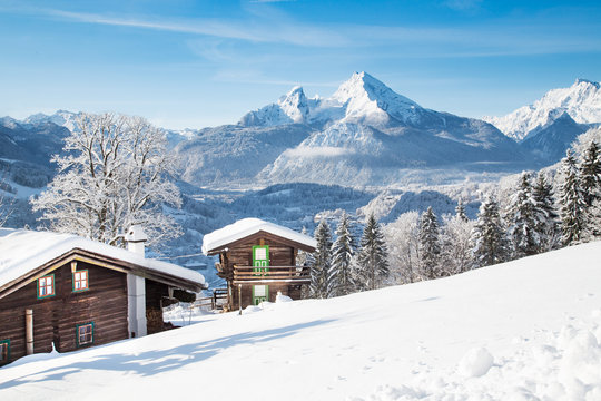 Rustic mountain cabins in the Alps in winter