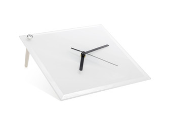 Modern clock isolated on white background. Mirror frame in clock template. ( Clipping paths )