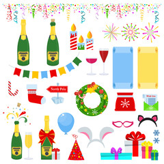 New years eve celebration. Set of icons for greeting card for happy new year and merry christmas. Glasses and bottles of champagne, confetti and fireworks, attributes of holiday and fun night party