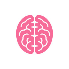 Brain pink color top view icon, intellect symbol vector illustration