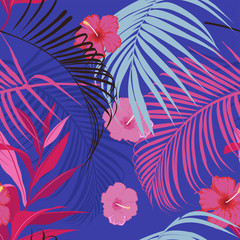 vector seamless beautiful artistic vivid tropical pattern with exotic forest.