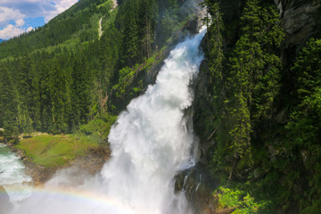 View Alpine inspiring Krimml waterfall in mountains in summer day. Trekking in National park Hohe Tauern, Austria