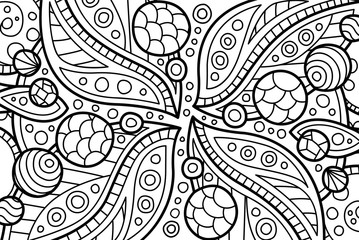 Coloring book page with abstract cosmic art