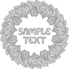 Beautiful coloring book page with wreath and hearts