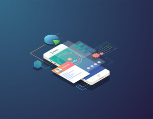 Mobile time management concept. Isometric mobile phone with futuristic UI and layers of applications and stopwatch. App on mobile phone for time organization. UI and software schedule app.
