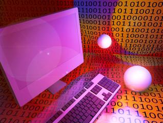 Codice binario, computer e tastiera.