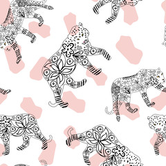 Hand drawn tiger and leopard spotted background