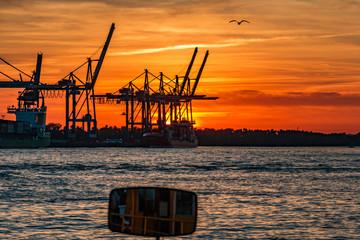 Hafenkräne in Hamburg, Elbe