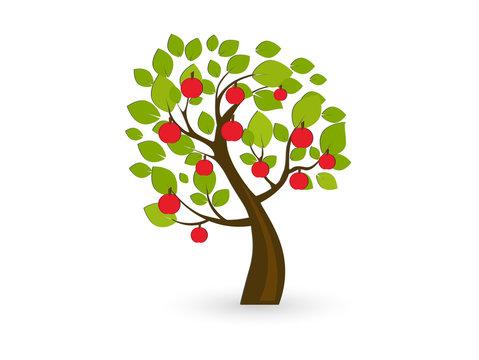 Icon apple tree. Vector illustration.