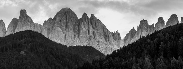 The Dolomites above Santa Magdalena, in black and white