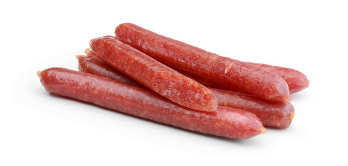 Smoked sausages isolated on white
