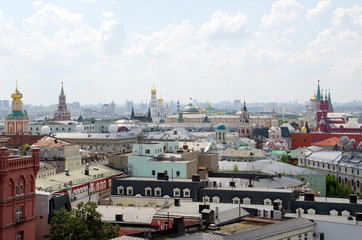 Summer view of the Moscow city from the observation deck of the Central children's store on Lubyanka, Russia