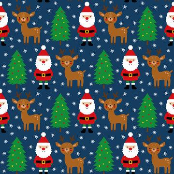 Santa Claus, his deer and Christmas trees, seamless pattern