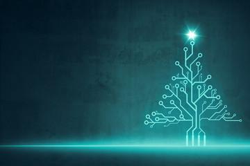 Digitaler Weihnachtsbaum aus Schaltkreisen mit Leuchtstern