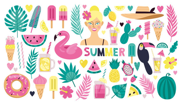 Set of stylish summer elements: tropical leaves, fruit, ice cream and cocktails. Bright summer tropical icons.