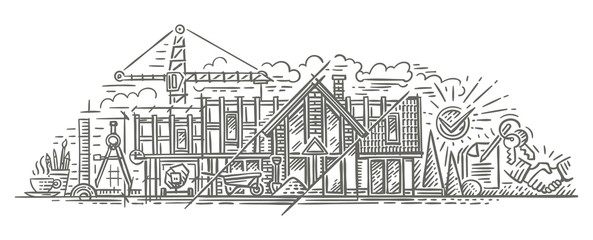 Construction/building process illustration. Building house stages, phases. Drawing. Vector. Isolated.