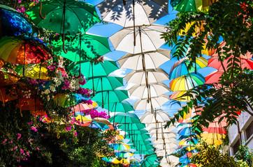 Multicolored umbrellas above street at Nicosia, Lefkosa, North Cyprus