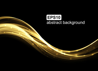 Abstract golden light wave futuristic background. Vector illustration.