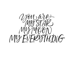 You are my star, my moon, my everything card. Hand drawn brush style modern calligraphy. Vector illustration of handwritten lettering.