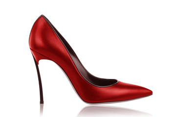 Red leather high-heeled shoes