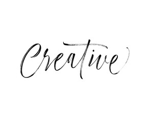 Design of creative phrase. Modern vector brush calligraphy. Ink illustration with hand-drawn lettering.