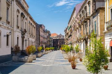 Via Teatro Massimo street, Catania city, Sicily, Italy