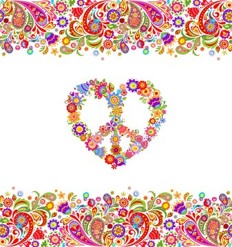 Fashion design with colorful floral summery seamless border and hippie peace flowers symbol for shirt print and party poster