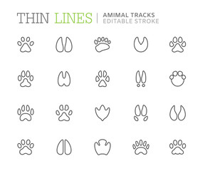 Collection of animal tracks line icons. Editable stroke