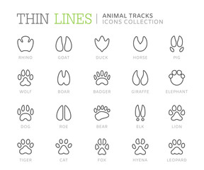 Collection of animal tracks line icons. Vector eps8