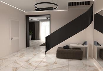 interior visualization, 3D illustration